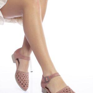 حذاء فلات جلد سويدي وردي فاتح نسائي