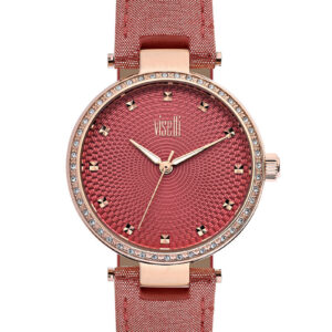 Women's Gemmed Case Patterned Red Strap Watch