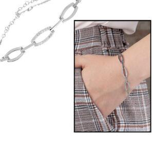 Women's Zircon Gemmed 925 Carat Silver Bracelet