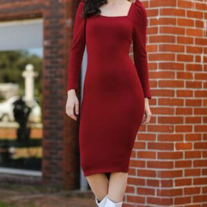 Women's Backless Red Midi Dress