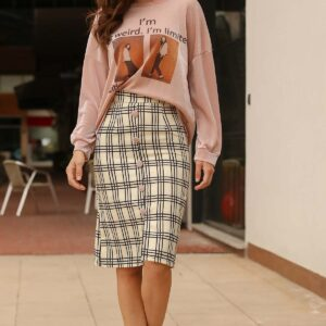 Women's Patterned Sweatshirt Short Skirt Set
