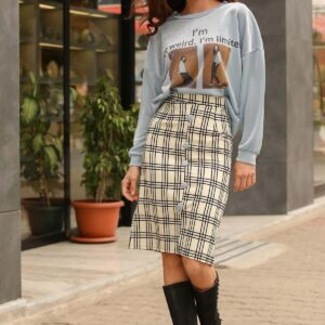 Women's Patterned Sweater & Short Skirt Set