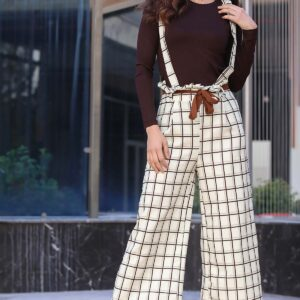 Women's Plaid Ecru Overall & Brown Blouse Set