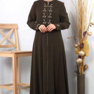 Women's Embroidered Khaki Modest Abaya