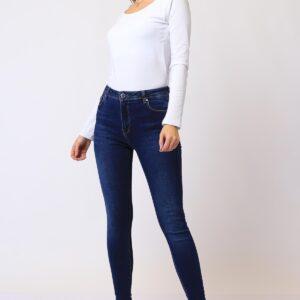 بنطلون جينز أزرق بجيوب نسائي