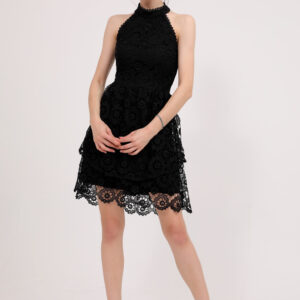Women's Tie Neck Black Short Dress