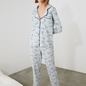 Women's Floral Pattern Blue Pajama Set