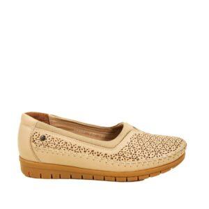 حذاء صيفي مريح جلد بيج نسائي