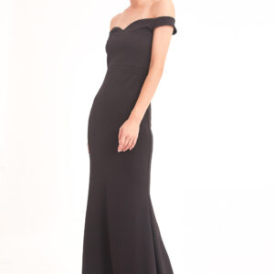 Women's Shoulder Detail Black Long Dress