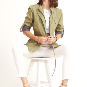 Women's Shirred Waist Khaki Trenchcoat