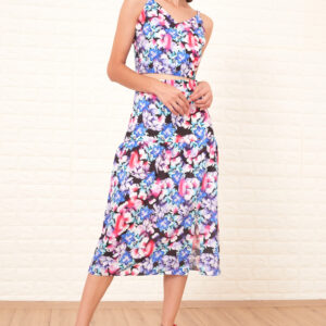 Women's Patterned Crop Blouse & Midi Skirt Set
