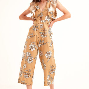 Women's Button Floral Pattern Overall