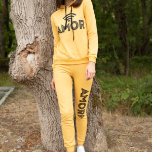 Women's Text Print Yellow Tracksuit