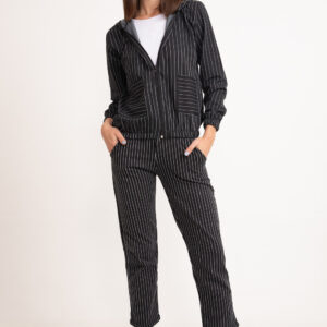 Women's Striped Black Jacket & Pants Set