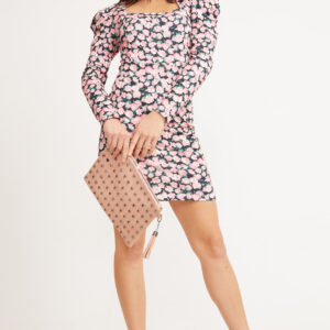 Women's Square Neck Floral Pattern Short Dress