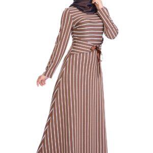 Women's Striped Modest Long Dress