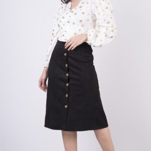 Women's Button Suede Midi Skirt