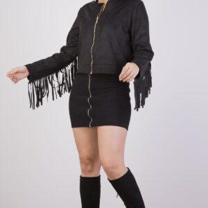 معطف جلد سويدي بسحاب وشراشيب نسائي