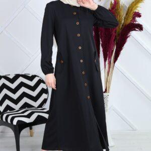 Women's Crew Neck Button Modest Dress