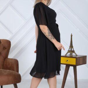 Women's Oversize Belted Black Chiffon Midi Dress