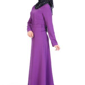 Women's Eyelet Detail Belted Long Dress