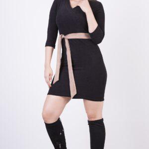 Women's Belted Rib Velvet Short Dress