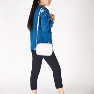 Women's White Quilted Bag