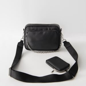 Women's Strappy Black Bag & Wallet Set