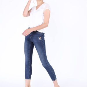Women's Floral Embroidered Navy Blue Skinny Jeans
